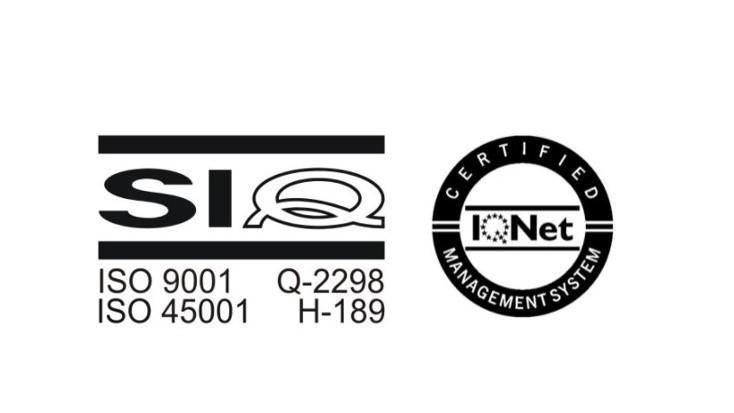 Certifikata ISO 9001:2015 in ISO 45001:2018